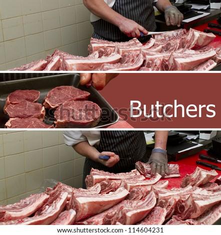 Butcher background design - stock photo