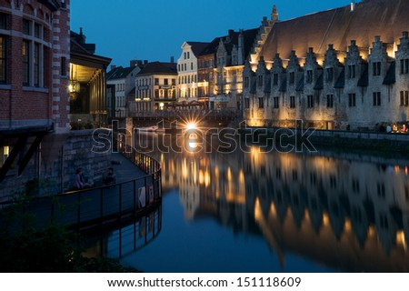 Butcher's Hall in the ancient town of Ghent at dawn. - stock photo