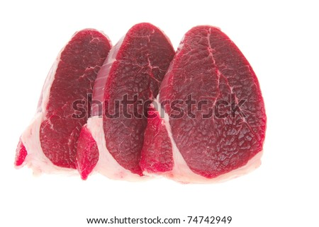 butchery : fresh raw beef lamb big fillet mignon ready to cooking isolated over white background - stock photo