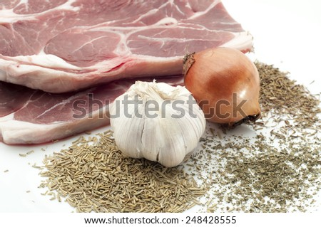 butchery : fresh raw beef lamb fillet ready to cooking with bbq preparation isolated over white background - stock photo