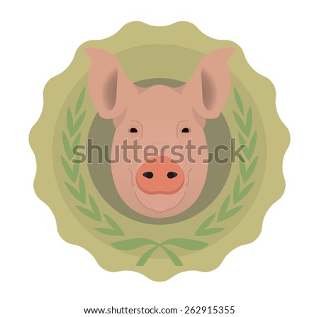 Butchery organic food raster eco logo. Big pink pig head in green stamp with laurel wreath. Color no outline illustration isolated on  white - stock photo