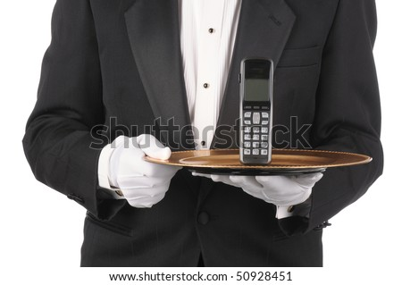 Butler Holding a cordless telephone on a tray isolated on white torso only - stock photo