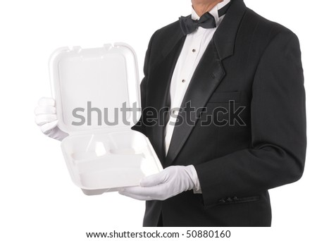 Butler in tuxedo torso only holding a Take-out Food Container isolated over white - stock photo