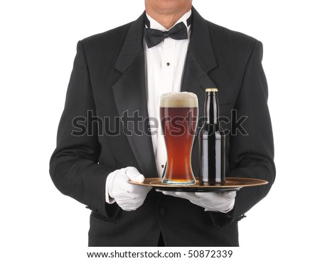 Butler in Tuxedo torso only with Bottle and Glass of Beer on Tray isolated on white - stock photo