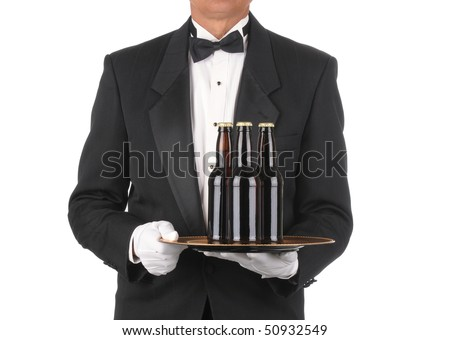 Butler in Tuxedo torso only with three bottles of Beer on Tray isolated on white - stock photo