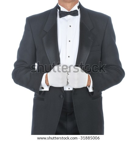 Butler Wearing Tuxedo Holding Lapels with White Gloved Hands isolated background - stock photo
