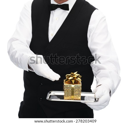 butler with gift on tray isolated on white - stock photo