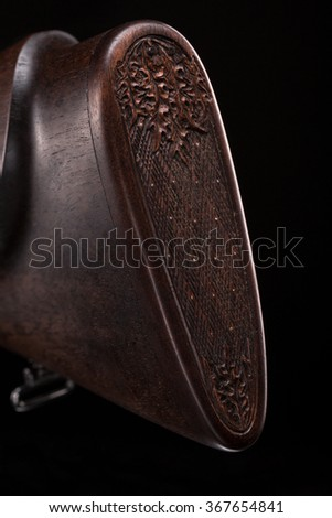 butt plate of double-barreled shotgun  - stock photo