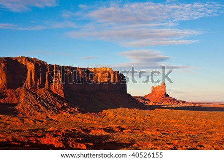 Butte and Mesa at Sunset in Monument Valley Tribal Park, Arizona.