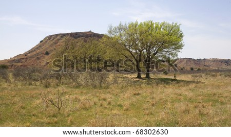 butte in the northwest corner of Oklahoma - stock photo