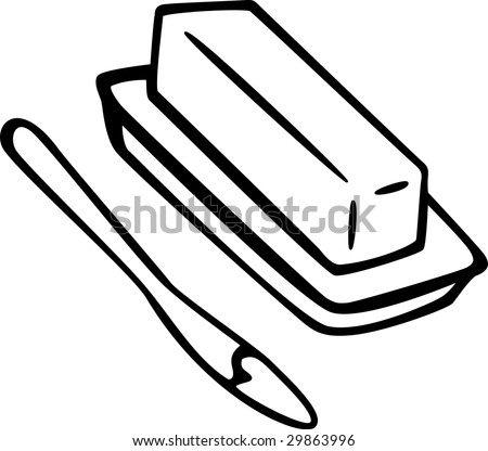 butter and spreading knife - stock photo