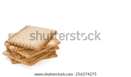 Butter Biscuits (close-up shot) isolated on pure white background - stock photo