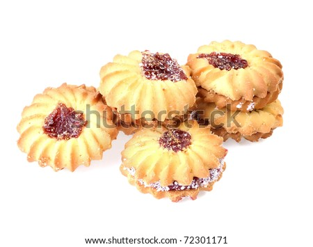 butter biscuits isolated on a white background - stock photo