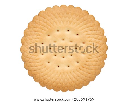 butter biscuits round shape on white background - stock photo