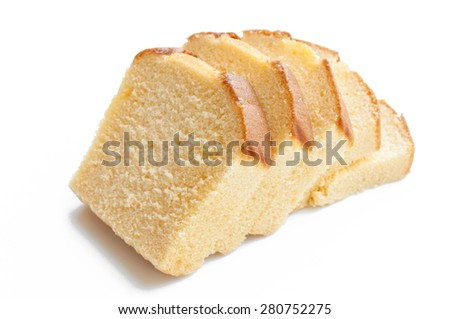 Butter cake sliced white background