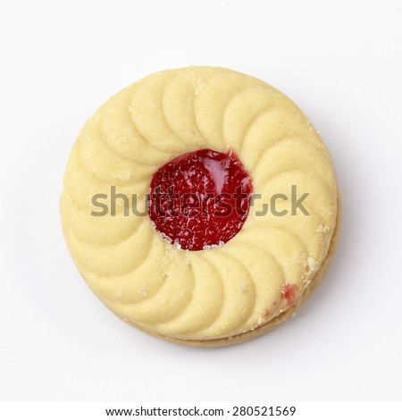 Butter cookies  cookies with strawberry jam - stock photo