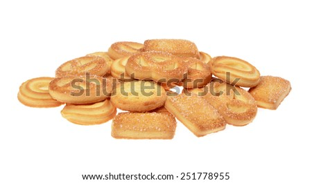 butter cookies,homemade biscuits, isolated on a white background
