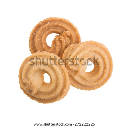 Butter cookies isolated on white background - stock photo