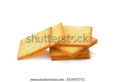 Butter Cracker isolated on  over white background  - stock photo
