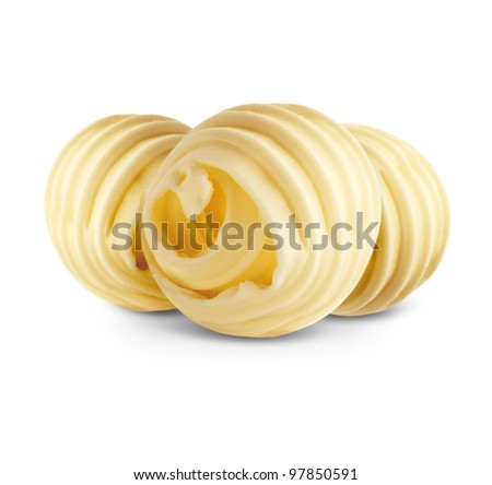 Butter curls isolated on white background - stock photo