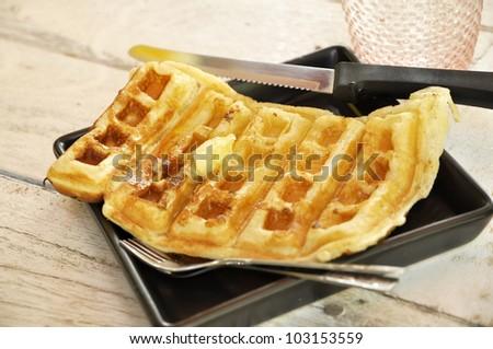 Butter Dish Breakfast Set Waffle - stock photo