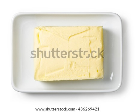 Butter dish isolated on white background, top view - stock photo