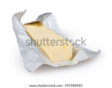 Butter isolated on white background with clipping path - stock photo