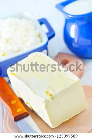 butter, milk and cottage - stock photo