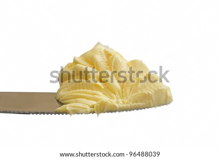 Butter on a knife - stock photo