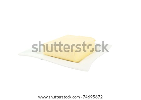 butter on a white background