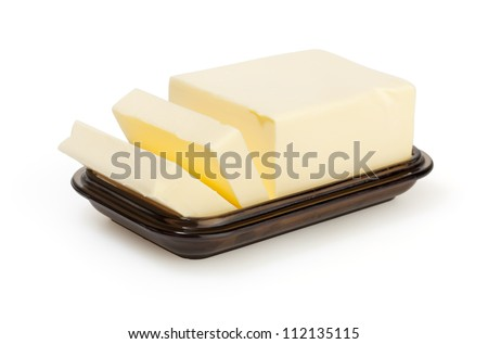 Butter on butter-dish on white background with clipping path - stock photo