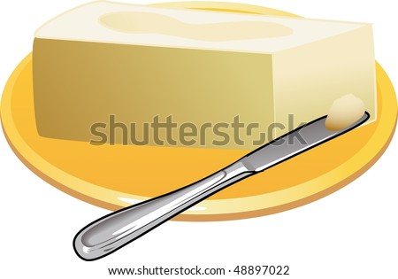 Butter or Margarine and Spreading - stock photo
