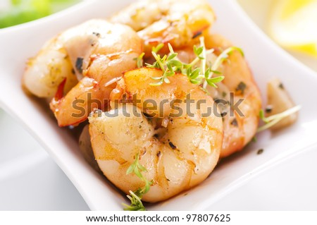 butter prawn with garlic - stock photo