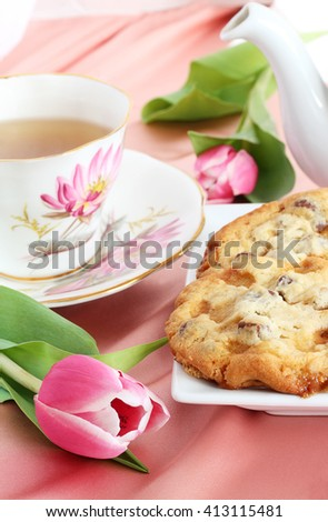 Butter toffee crunch cookies and tea, perfect treat for Mom on Mother's Day - stock photo