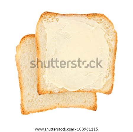 buttered bread isolated on white