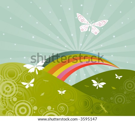 Butterflies and a rainbow in a bright dream-like sky -- retro colors and style - stock photo