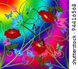 Butterflies and Flowers graphic/illustration background - stock photo