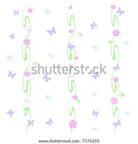 butterflies and flowers sprinkled  on green vines