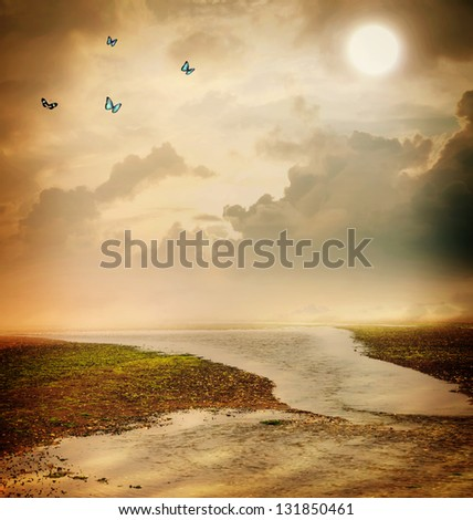 Butterflies and moon in sepia colored fantasy landscape - stock photo