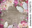 Butterflies and orchids flowers beige background - stock photo