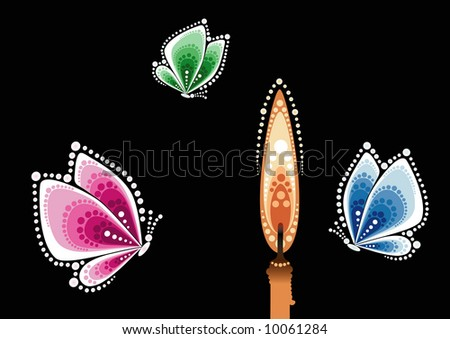 Butterflies flying on light of candle. - stock photo