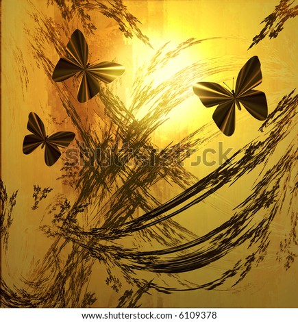 Butterflies On Golden Sunrise or Sunset - stock photo