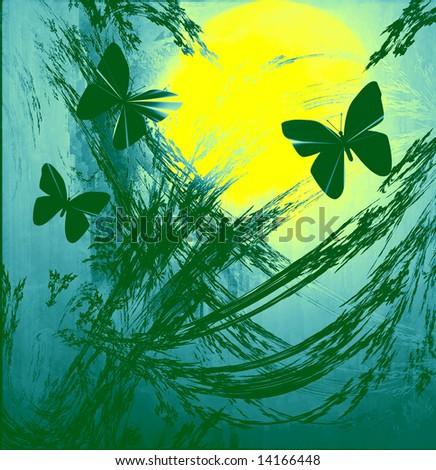 Butterflies On Sunrise or Sunset - stock photo