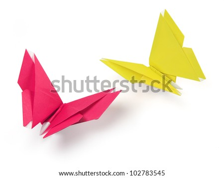 butterflies origami of paper on the white background