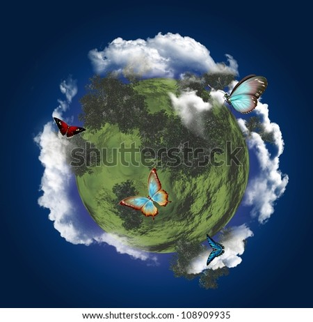 Butterflies planet - stock photo