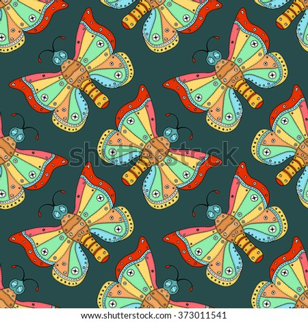 Butterflies seamless pattern in doodle style. Hand drawn butterfly art illustration for fabric. textile, wrapping, wallpaper, packaging and other beauty design. Pastel colors - stock photo
