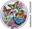 Butterflies & wildflowers - stock photo