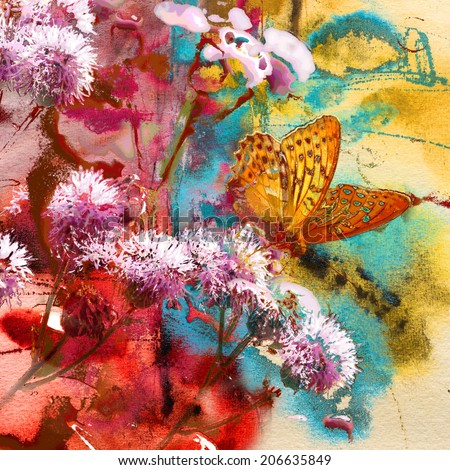 Butterfly and abstract painting on handmade paper, mixed media art background                                                              - stock photo