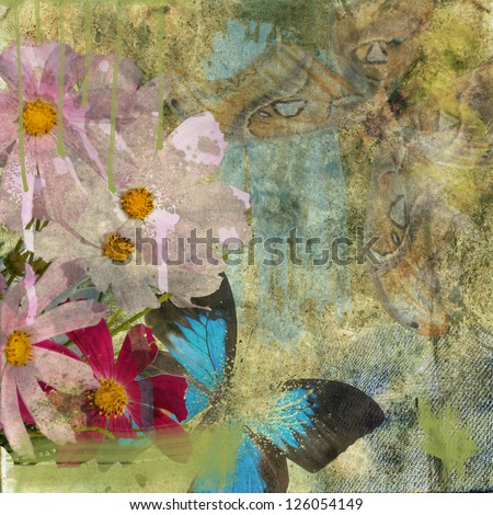 butterfly and flowers on background grunge
