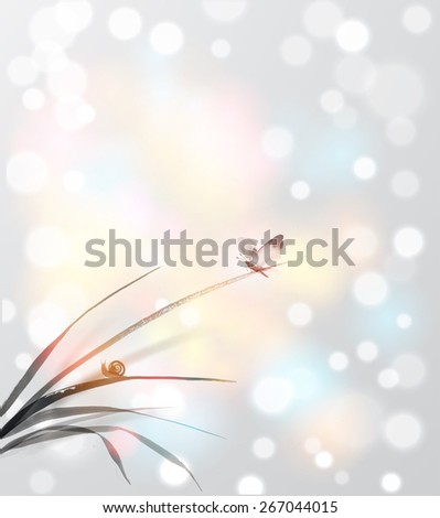 Butterfly and little snail on leaves of grass.  - stock photo